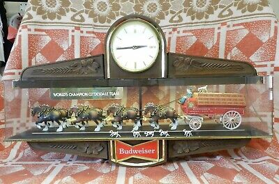 $ CDN762.80 • Buy Vintage Budweiser Beer Sign World Champion Clydesdale Lighted Clock 2-Sided 35
