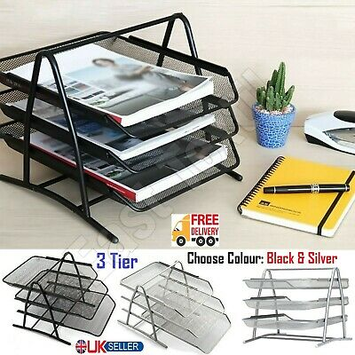£8.89 • Buy 3 Tier Office Files Metal Mesh A4 Paper Document Holder Desk Top Organizer Tray