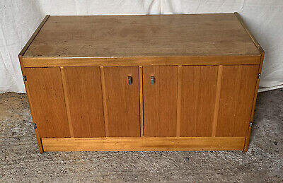 Small Retro Teak Cupboard - Record Cabinet - Drawer - Castors • 30£