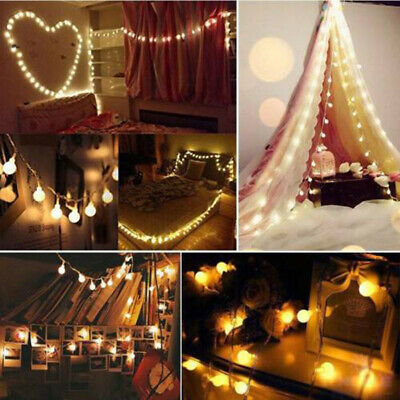 Connectable Plug In LED Ball Garden Party Fairy String Lights Bedroom Globe Lamp • 12.68£