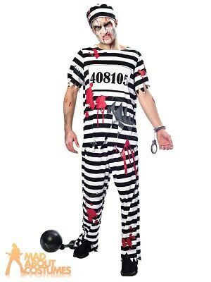 Plus Size Zombie Convict Costume Prisoner Halloween Mens Fancy Dress Outfit  • 14.99£