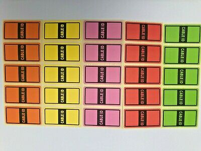 5 Colours = 50 Cable Id Tidy Stickers Self Adhesive Sticky Identification Labels • 2.99£