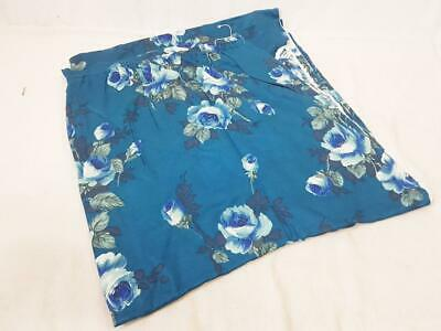 Vintage 70's Blue Rose Floral Curtain Piece Fabric Mid-Century Retro • 16£
