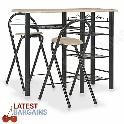 AU160.30 • Buy 3 Pc Kitchen Breakfast Bar Dining Table & Chair Stools Set High Furniture Shelf