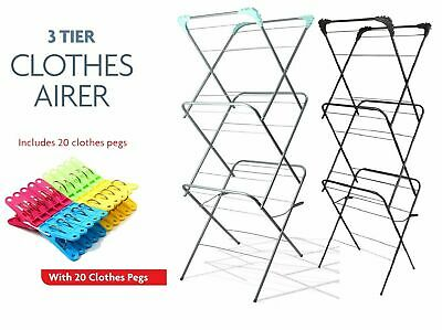 CLOTHES AIRER 3 TIER DRYER INDOOR OUTDOOR DRYING HORSE RACK WINGED LAUNDRY FOLD