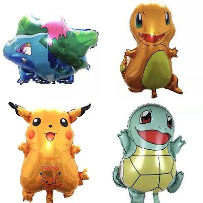 4 Pack Of Pokemon Balloons Birthday Party Cartoon Pikachu Bulbasaur Squirtle • 5.99£