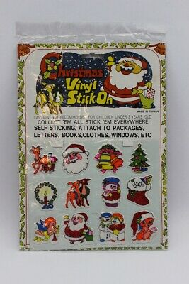 $ CDN10.51 • Buy Vintage Christmas Vinyl Stick On Self Sticking Holiday Decorations ~ Sheet Of 12