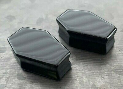 $10.95 • Buy PAIR Black Obsidian Organic Stone Double Flare Coffin Shaped Plugs Earlet Gauges