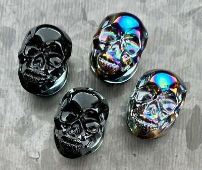 $13.95 • Buy PAIR Of Skull Front Pyrex Glass Plugs Gauges Tunnels Body Jewelry