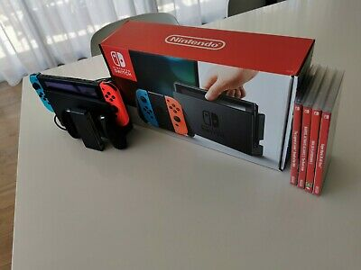 AU385 • Buy Nintendo Switch 32G Neon Blue/Neon Red Console With 4 Games, Original Everything