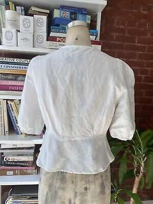 AU31.25 • Buy Oysho White Linen Top With Seashell Buttons Size M