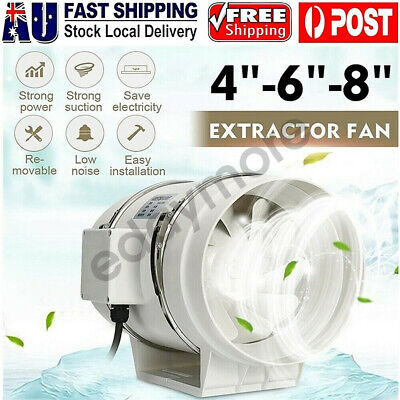 AU37.88 • Buy 4/6/8  Inch Silent Extractor Fan Duct Hydroponic Inline Exhaust Industrial Vent