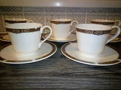 Royal Doulton Tennyson Hotel Ware China Tea Cups And Saucers Set Of 5 Unused Eng • 22£