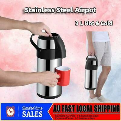 AU37.98 • Buy Thermos Flask Thermal Insulated Stainless Vacuum Flask Pump Hot Cold Water 3L
