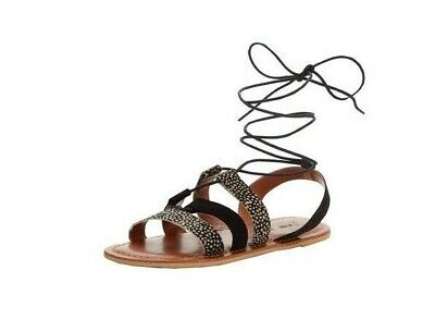 Gladiator Sandals Flat Leather Ghillie Tie Shoes Animal Black Ladies Size 6 NEW • 19.95£