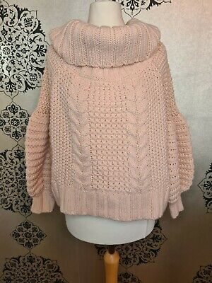 H M Blush Pink Roll Neck /off The Shoulders Knitted  Jumper Size M • 24£