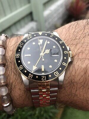 $ CDN12968.96 • Buy Rolex Black & Gold Nipple Dial 16753 Gmt Jubilee Bracelet 1981 Amazing Condition