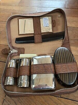 Vintage Mens Gents Vanity Grooming Travel Set In Brown Leather Zip Case Shaving • 3.30£