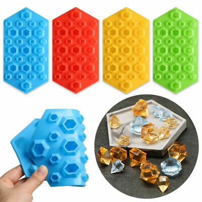 27 Cavity Diamond Silicone Chocolate Mould Ice Whisky Crystals Gems Maker Molds • 3.99£