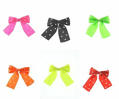 Zac's Alter Ego Set Of 6 Large Satin Star Print Neon Pop 80s Hair Bow Barrettes • 10.69£