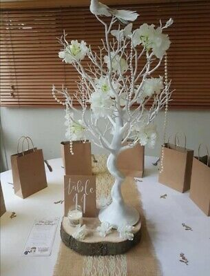 6 Wedding Table Centrepieces Plus Memory Tree, With Flowers, Birds & Beads • 80£