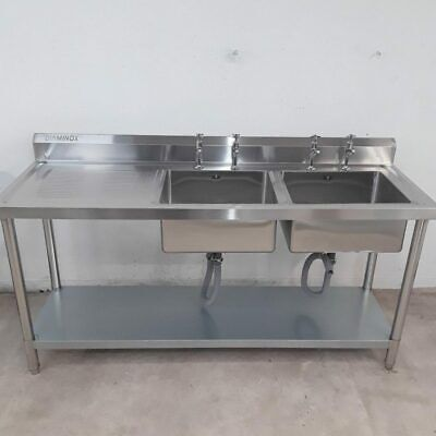 Commercial Sink Double Bowl Drainer Taps Shelf Stainless Diaminox • 354£