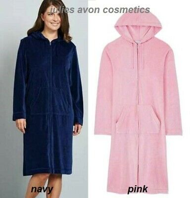 Pink Hooded Velour Zip Robe, Dressing Gown, Cover Up, Pockets, L42   Size 16/18 • 18.99£