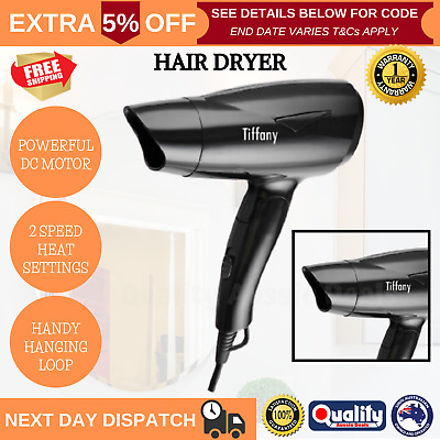 AU19.96 • Buy Tiffany Black Mini Hair Dryer 2 Speed Heat Hairdryer Travel Compact Fold Design