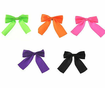 Zac's Alter Ego Set Of 5 Satin Neon Pop 80s Hair Bows On Barrette • 8.69£