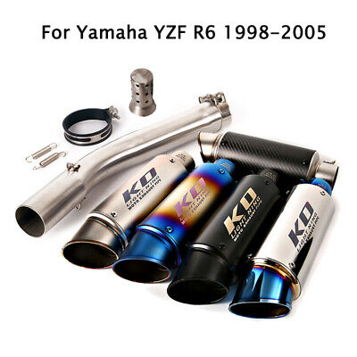 $111.59 • Buy For Yamaha YZF R6 1998-2005 Motorcycle Exhaust Silencer Tips 51MM Mid Link Pipe
