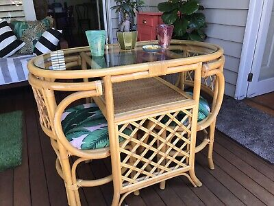 AU150 • Buy Cane Table And Chairs Dining Breakfast Small Vintage
