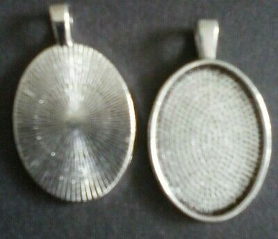 £1.99 • Buy 5 Antique Silver Cabochon Stone Cameo Pendant Setting Tray 18 X 25 Mm H 62