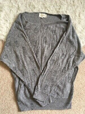 Owl Pattern Soft Grey New Look Jumper Knitwear Sweater Size 8 • 4.50£