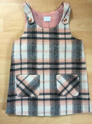 Girls F&F Grey Pink Checked Pinnafore Dress Age 2-3 Years • 0.99£