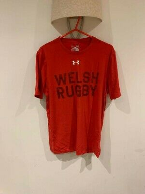 Under Armour Wales Rugby Small Mens Red Tshirt • 5£
