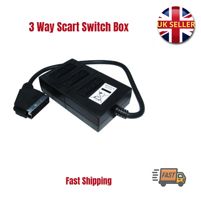 3 Way Scart Switch Box Splitter Lead Cable Plug Sockets Adaptor Combiner Joiner • 6.15£