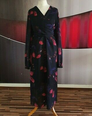 Gorgeous Coast  Nyla  Chiffon Floral Wrap Midi Dress Size 16 • 4.20£