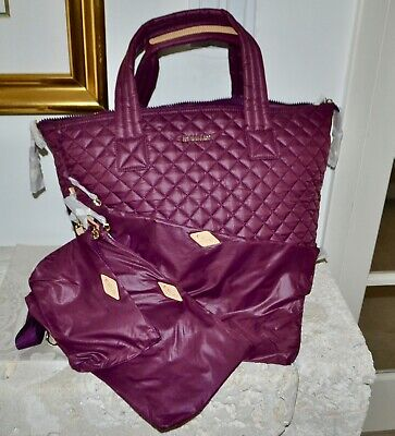 AU294.18 • Buy NWT $245 MZ Wallace Large Sutton Crossbody Quilted Nylon WILD PLUM