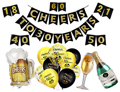 AU8.99 • Buy 18th 21st 30th 40th 50th 60th Birthday Decorations Balloons Cheers And Beers