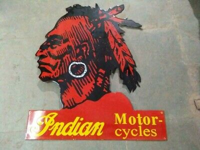 $ CDN1.31 • Buy Porcelain Indian Motorcycles Enamel Sign Size 30  X 36  Inches Pre-Owned