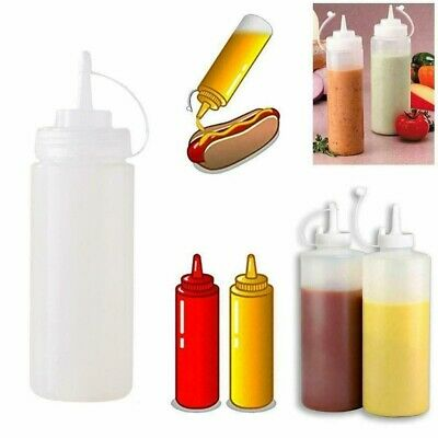 5/12x Plastic Clear Squeeze Squeezy Sauce Bottle Mayo Dispenser Bottles UK Stock • 8.16£