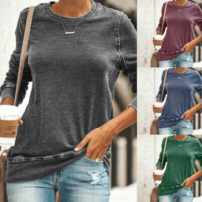 Women Long Sleeve Blouse Jumpers Plain T Shirt Ladies Loose Baggy Casual Tops UK • 8.59£