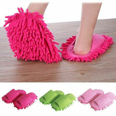 UK Mop Slippers Lazy Floor Foot Socks Shoes Quick Polishing Cleaning Dust • 7.89£