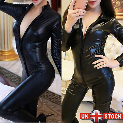 Sexy Womens Faux Leather Wet Look Catsuit Zip Crotch Jumpsuit Bodysuit Clubwear • 12.59£