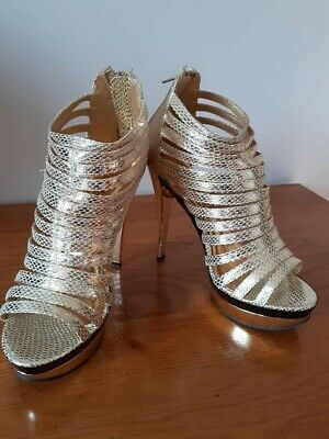 Ladies Gladiator Style  Rebel Heart  Gold Sandals Size 7 Worn Once • 1.20£