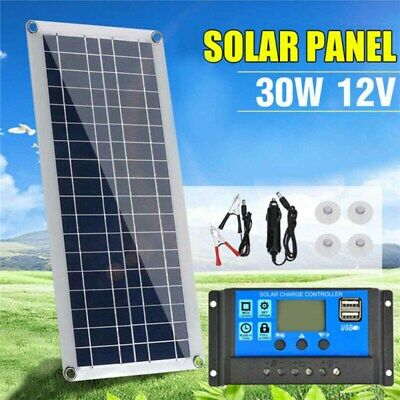 Dual USB Solar Panel Flexible Battery Charger Kit With Car Controller 30W 12V • 24.89£