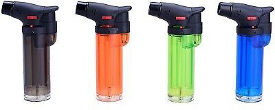 4x Single Jet Flame Torch Lighter Refillable Lockable Blow Windproof 4  Size UK • 9.99£