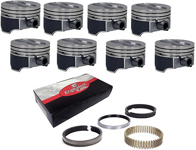 $159.95 • Buy Chevy SBC 350 5.7L Coated Skirt Hypereutectic Flat Top Pistons .030 W/ M Rings