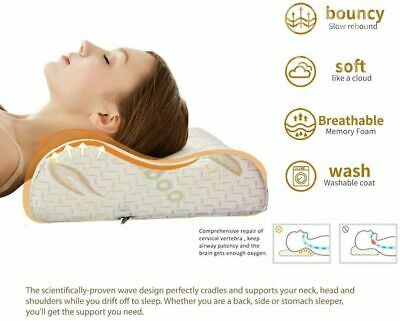 Memory Foam Neck Pillow With Bamboo Cover Pain Relief, Back & Shoulder • 14.99£