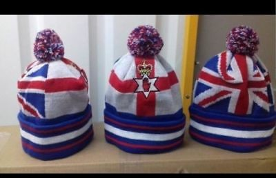 NEW  UNION JACK FLAG RED HAND OF ULSTER Bobble HAT LOYALIST RANGERS LOYAL SCOTS  • 13.99£
